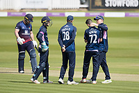 Nathan Sowter of Middlesex CCC is congratulated by team mates following the dismissal of Steven Croft during Middlesex vs Lancashire, Royal London One-Day Cup Cricket at Lord's Cricket Ground on 10th May 2019