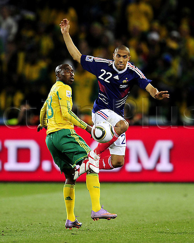22 06 2010 Gael Clichy right, Group A, 2010 World Cup match between France and South Africa in Bloemfontein South Africa