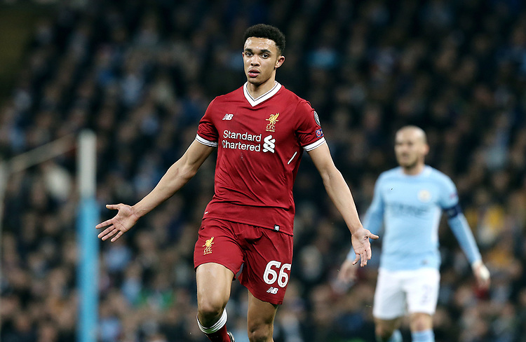 Liverpool's Trent Alexander-Arnold<br /> <br /> Photographer Rich Linley/CameraSport<br /> <br /> UEFA Champions League Quarter-Final Second Leg - Manchester City v Liverpool - Tuesday 10th April 2018 - The Etihad - Manchester<br />  <br /> World Copyright &copy; 2017 CameraSport. All rights reserved. 43 Linden Ave. Countesthorpe. Leicester. England. LE8 5PG - Tel: +44 (0) 116 277 4147 - admin@camerasport.com - www.camerasport.com
