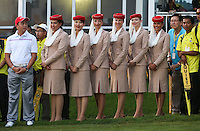 Fly Emirates Crew line up at the Prize Ceremony of the 2014 Maybank Malaysian Open at the Kuala Lumpur Golf & Country Club, Kuala Lumpur, Malaysia. Picture:  David Lloyd / www.golffile.ie