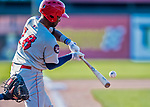 16 July 2017: Auburn Doubledays infielder Joshual Ramirez in action against the Vermont Lake Monsters at Centennial Field in Burlington, Vermont. The Monsters defeated the Doubledays 6-3 in NY Penn League action. Mandatory Credit: Ed Wolfstein Photo *** RAW (NEF) Image File Available ***
