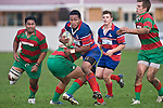 Sio Petelo tries to break out of Manu Vea's tackle. Counties Manukau Premier rugby game between Waiuku & Ardmore Marist played at Waiuku on Saturday May 10th 2008..Ardmore Marist won 27 - 6 after leading 10 - 6 at halftime.