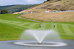 ISPS Handa Wales Open Golf final day at the Celtic Manor Resort in Newport, UK. :  Generic shot showing water fountain in between  the 18th fairway and the 18th green.