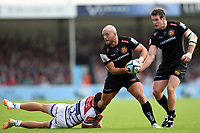 Jack Yeandle of Exeter Chiefs takes on the Leicester Tigers defence. Gallagher Premiership match, between Exeter Chiefs and Leicester Tigers on September 1, 2018 at Sandy Park in Exeter, England. Photo by: Patrick Khachfe / JMP