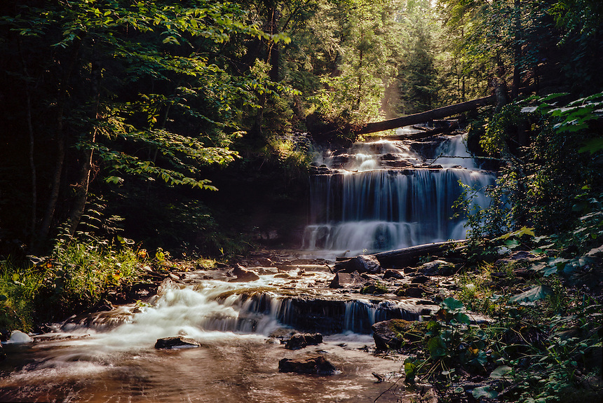 (Film) Summer morning mist rising from Wagner Falls. Munising, MI - Kodak Ektar 100