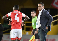 BOGOTA - COLOMBIA, 07-09-2019: Harold Rivera técnico del Santa Fe gesticula durante partido entre Independiente Santa Fe y Millonarios por la fecha 10 de la Liga Águila II 2019 jugado en el estadio Nemesio Camacho El Campín de la ciudad de Bogotá. / Harold Rivera coach of Santa Fe gestures during match between Independiente Santa Fe and Millonarios for the date 10 as part of the Aguila League II 2019 played at Nemesio Camacho El Campín stadium in Bogota city. Photo: VizzorImage / Gabriel Aponte / Staff