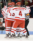 The Terriers celebrate Sahir Gill's (BU - 28) goal which opened scoring 1:31 into the first. - The Boston University Terriers defeated the visiting Providence College Friars 6-1 on Friday, January 20, 2012, at Agganis Arena in Boston, Massachusetts.