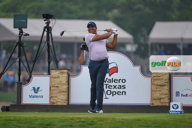 Jhonattan Vegas (VEN) watches his tee shot on 11 during day 3 of the Valero Texas Open, at the TPC San Antonio Oaks Course, San Antonio, Texas, USA. 4/6/2019.<br /> Picture: Golffile | Ken Murray<br /> <br /> <br /> All photo usage must carry mandatory copyright credit (© Golffile | Ken Murray)