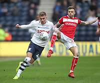 Preston North End's Brad Potts battles with  Bristol City's Jamie Paterson<br /> <br /> Photographer Mick Walker/CameraSport<br /> <br /> The EFL Sky Bet Championship - Preston North End v Bristol City - Saturday 2nd March 2019 - Deepdale Stadium - Preston<br /> <br /> World Copyright © 2019 CameraSport. All rights reserved. 43 Linden Ave. Countesthorpe. Leicester. England. LE8 5PG - Tel: +44 (0) 116 277 4147 - admin@camerasport.com - www.camerasport.com