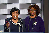 Felicia Sanders and Polly Sheppard, two of the three survivors of the Mother Emanuel Church shooting in Charleston, South Carolina, make remarks during the third session of the 2016 Democratic National Convention at the Wells Fargo Center in Philadelphia, Pennsylvania on Wednesday, July 27, 2016.<br /> Credit: Ron Sachs / CNP<br /> (RESTRICTION: NO New York or New Jersey Newspapers or newspapers within a 75 mile radius of New York City)