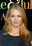 "WESTWOOD, CA. - July 27: Yvonne Strahovski arrives at the Los Angeles screening  of ""Julie & Julia"" at the Mann Village Theatre on July 27, 2009 in Westwood, California."