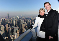 Australian Foreign Minister Julie Bishop attends ceremonial lighting of the Empire State Building in Green and Gold, with actor Hugh Jackman.