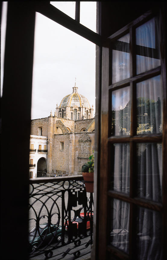 A balcony view of a large plaza and Cathedral in the colonial city of Zacatecas, Mexico 2002
