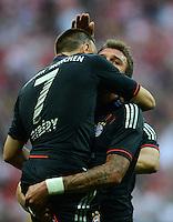 FUSSBALL   1. BUNDESLIGA   SAISON 2012/2013   SUPERCUP FC Bayern Muenchen - Borussia Dortmund            12.08.2012 Franck Ribery mit Mario Mandzukic (v, li. FC Bayern Muenchen)