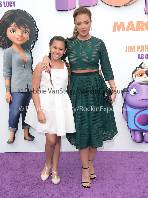 Leah Remini and Sofia Bella Pagan attend The Twentieth Century Fox Special Screening of HOME held at The Regency Village Theater in Westwood, California on March 22,2015                                                                               © 2015 Hollywood Press Agency