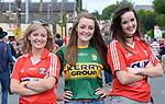 2-7-2017: Niamh O'Connor, Juliette Culloty and Breda O'Keeffe at the Kerry V Cork Munster Football final in Killarney on Sunday.<br /> Photo: Don MacMonagle<br /> <br /> vox pop majella o'sullivan