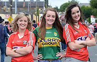 2-7-2017: Niamh O'Connor, Juliette Culloty and Breda O'Keeffe at the Kerry V Cork Munster Football final in Killarney on Sunday.<br /> Photo: Don MacMonagle<br /> <br /> vox pop majella o'sullivan