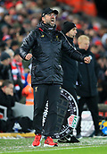 30th January 2019, Anfield, Liverpool, England; EPL Premier League football, Liverpool versus Leicester City; Liverpool manager Jurgen Klopp reacts furiously on the touchline as his team fail to find a winning goal