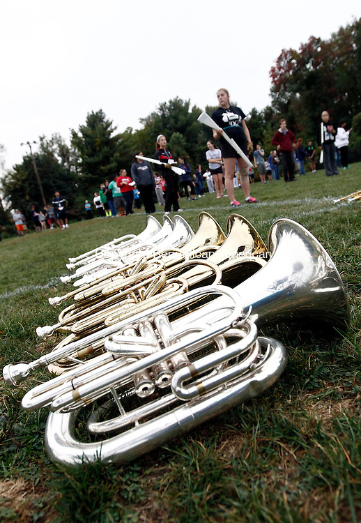 Cheshire, CT- 30 September 2014-093014CM10-  Mellophones wait to be played as the Cheshire High School Marching Band and Color Guard practice at the high school on Tuesday.   Christopher Massa Republican-American
