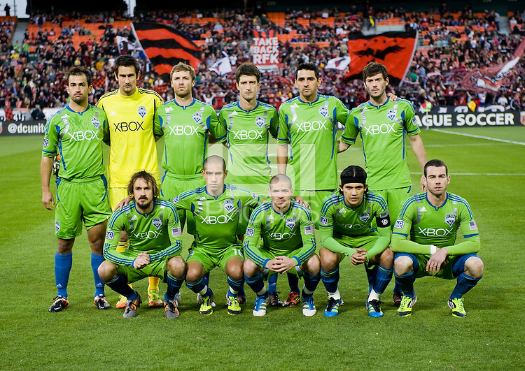 The Seattle Sounders line up before the game at RFK Stadium in Washington DC.   D.C. United tied  the Seattle Sounders, 0-0.