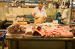 Fishmonger stalls inside historic covered market building, Jerez de la Frontera, Spain