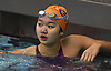 Jessica Whang of Great Neck South checks the scoreboard after winning the 100-yard breaststroke event in the Nassau County girls swimming championships and state qualifier meet at Nassau Aquatic Center in East Meadow on Saturday, Nov. 3, 2018. She posted a time of 1:03.09.