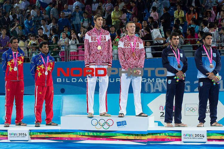 27.08.2014, Nanjing, Youth Olympic Sports Park<br /> Youth Olympic Games 2014, Siegerehrung<br /> <br /> 2. Platz / Silber / Silbermedaille: Rolando Hernandez (VEN) und Jose Gregorio &bdquo;Tigrito&ldquo; Gomez (VEN), 1. Platz / Gold / Goldmedaille / Olympiasieger: Oleg Stoyanovskiy (RUS) und Artem Yarzutkin (RUS), 3. Platz / Bronze / Bronzemedaille: Leo Aveiro (ARG) und Santiago Aulisi (ARG)<br /> <br />   Foto &copy; nordphoto / Kurth