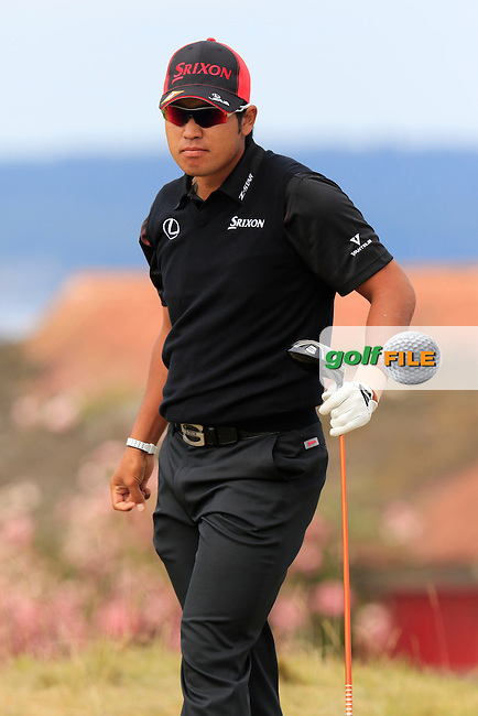 Hideki Matsuyana (JPN) tees off the 18th tee during Thursday's Round 1 of the 2015 U.S. Open 115th National Championship held at Chambers Bay, Seattle, Washington, USA. 6/18/2015.<br /> Picture: Golffile | Eoin Clarke<br /> <br /> <br /> <br /> <br /> All photo usage must carry mandatory copyright credit (&copy; Golffile | Eoin Clarke)