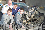THIS IS WHAT'S LEFT: Eamonn O'Connor from the Ambulance Service and Joe Coolahan A&E Nurse at KGH spoke at Tuesday's Roadsafety Campaign in the Brandon Hotel. Students Brendan O'Donnell, Conor Breen (front) from CBS The Green were shocked at the real life stories.   Copyright Kerry's Eye 2008