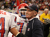 Head coach Gene Mastin of the Hornell Red Raiders varsity football team against the Nanuet Golden Knights during the NYSPHSAA Class-B State Championship game at the Carrier Dome on November 29, 200 in Syracuse, New York.  Hornell defeated Nanuet 16-14.  (Copyright Mike Janes Photography)