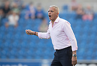 Keith Curle, Manager of Northampton Town animated on the touch line during Colchester United vs Northampton Town, Sky Bet EFL League 2 Football at the JobServe Community Stadium on 24th August 2019