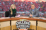 ESPN College Gameday reporters Erin Andrews, left, and Kirk Herbstreit live on the set at Camp Randall Stadium prior to the Wisconsin Badgers NCAA college football game against the Ohio State Buckeyes on October 16, 2010 at Camp Randall Stadium in Madison, Wisconsin.(Photo by David Stluka)