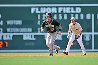 Second baseman Alec Paradowski (15) of the Wofford Terriers takes a lead off second in a SoCon Tournament game against Western Carolina on Wednesday, May 25, 2016, at Fluor Field at the West End in Greenville, South Carolina. Western won, 10-9. (Tom Priddy/Four Seam Images)