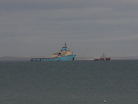 Oil Supply ships berthed at sea in the approach to Aberdeen Harbour.
