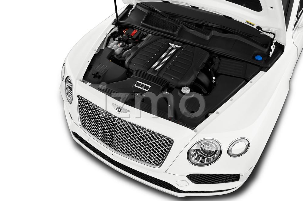 Car Stock 2019 Bentley Bentayga 4wd 5 Door SUV Engine  high angle detail view
