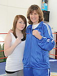 Boxer Deirdre Gogarty pictured with Michaela Stowe at her book signing at Drogheda Boxing club. Photo: Colin Bell/pressphotos.ie