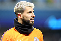 Manchester City's Sergio Aguero during the pre-match warm-up <br /> <br /> Photographer Rich Linley/CameraSport<br /> <br /> UEFA Champions League Round of 16 Second Leg - Manchester City v FC Schalke 04 - Tuesday 12th March 2019 - The Etihad - Manchester<br />  <br /> World Copyright © 2018 CameraSport. All rights reserved. 43 Linden Ave. Countesthorpe. Leicester. England. LE8 5PG - Tel: +44 (0) 116 277 4147 - admin@camerasport.com - www.camerasport.com