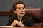 Nevada Sen. Valerie Wiener, D-Las Vegas, speaks in committee at the Legislature in Carson City, Nev., on April 1, 2011.  .Photo by Cathleen Allison