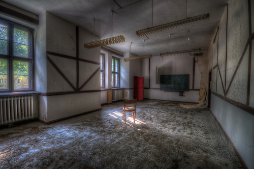 Out scouting for new location in the Brandenburg area. It was a long and very hot day without much success. We were on our way home when we found this old boarding school.  <br /> Classroom.