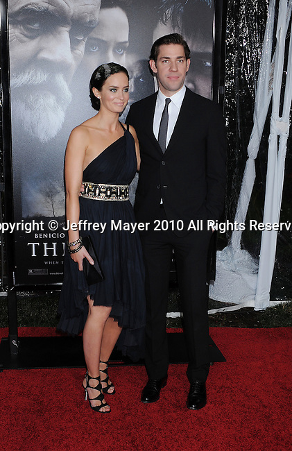 """HOLLYWOOD, CA. - February 09: Emily Blunt (L) and actor John Krasinski   arrive at the """"The Wolfman"""" Los Angeles Premiere held at ArcLight Hollywood Cinemas on February 9, 2010 in Hollywood, California."""
