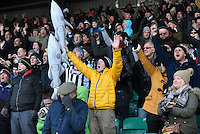 Grimsby Town fans celebrate scoring their first goal during the Vanarama National League match between Eastleigh and Grimsby Town at The Silverlake Stadium, Eastleigh, Hampshire on Nov 21, 2015. (Photo: Paul Paxford/PRiME)