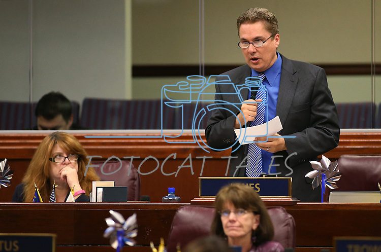 Nevada Assemblyman Brent Jones, R-Las Vegas, speaks on the Assembly floor at the Legislative Building in Carson City, Nev., on Monday, April 6, 2015. <br /> Photo by Cathleen Allison