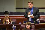 Nevada Assemblyman Brent Jones, R-Las Vegas, speaks on the Assembly floor at the Legislative Building in Carson City, Nev., on Monday, April 6, 2015. <br /> Photo by Cathleen Allison
