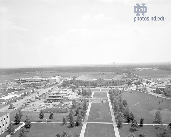 GPHR 45/0001:  View of Notre Dame Stadium and construction of Galvin Life Sciences Center and the Joyce Center from the Hesburgh Library, 1967..Image from the University of Notre Dame Archives.