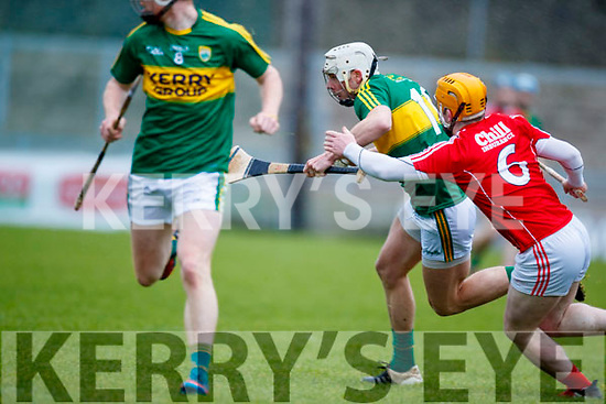 Shane Nolan Kerry  in action against Niall O Leary Cork in the Co-op Superstores Munster Senior Hurling League on Sunday 14th January in Austin Stack Park, Tralee.