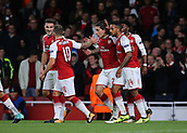 14th September 2017, Emirates Stadium, London, England; UEFA Europa League Group stage, Arsenal versus FC Cologne; Hector Bellerin of Arsenal makes it 3-1 in the 82nd minute and celebrates with Jack Wilshere, Theo Walcott and team mates