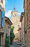 "The 16th century clock tower of the Luberon village of Ansouis, one of ""Les Plus Beaux Villages de France."""