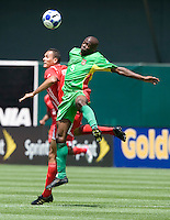 05 July 2009: Eddie Viator of the Guadeloupe battles for the ball in the air against Blas Perez of the Panama during the game at Oakland-Alameda County Coliseum in Oakland, California.   Guadeloupe defeated Panama, 2-0.