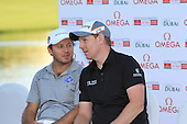 Stephen Gallacher (SCO) winner chats to 2nd place Richard Sterne (RSA) at the end of Sunday's Final Round of the 2013 Omega Dubai Desert Classic held at the Emirates Golf Club, Dubai, 3rd February 2013..Photo Eoin Clarke/www.golffile.ie