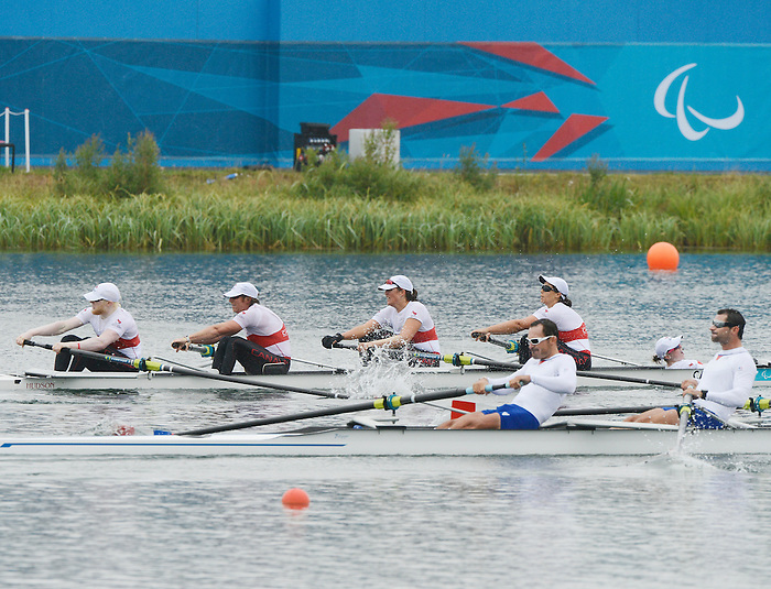 LONDON, ENGLAND 09/02/2012:   Canada's Mixed Coxed Four competes in the LTA Mixed Coxed Four Final B at the London 2012 Paralympic Games at Eton Dorney. (Photo by Matthew Murnaghan/Canadian Paralympic Committee)
